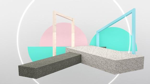 Stone pedestal mock up platform for product presentation,mock up, 3d rendering