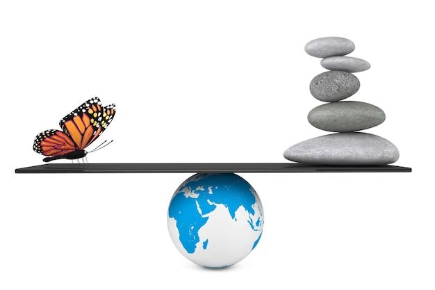 白い背景の上の地球儀でバランスの取れた蝶と禅の庭の石の山