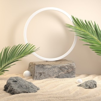 Stone platform for show product with palm leaf on the beach. 3d render Premium Photo