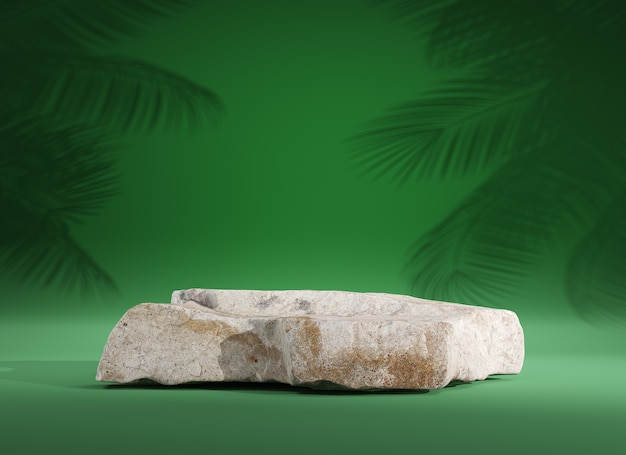 Stone podium for display product on green background, 3d