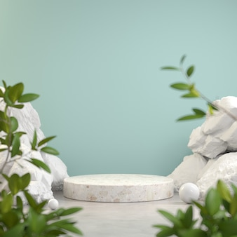 Stone podium display with white rock and plant blur foreground abstract background 3d render
