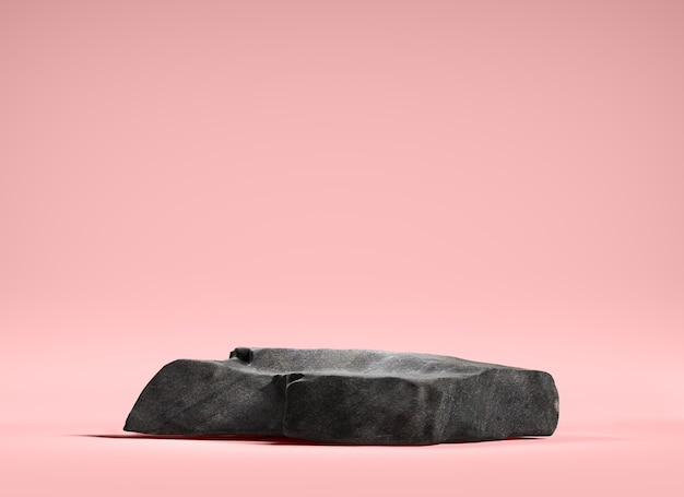 분홍색 배경, 3d에 디스플레이 제품에 대 한 돌 연단 프리미엄 사진