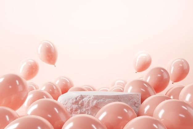 분홍색 배경 위에 풍선이 있는 돌 연단