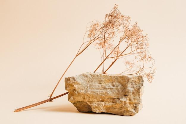 製品や化粧品を展示するためのドライフラワーと石の表彰台