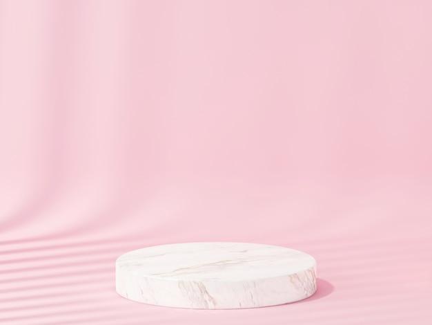 분홍색 제품을 보여주는 돌 연단