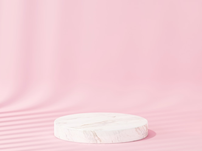 Stone podiums for showing product with pink