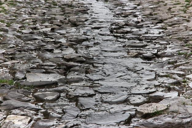 The stone road in kish village, azerbaijan