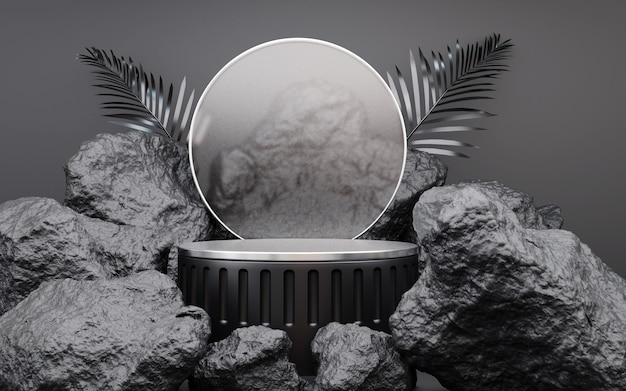 Stone rock shape background mockup with golden product podium for display or showcase cosmetic products, 3d rendering.