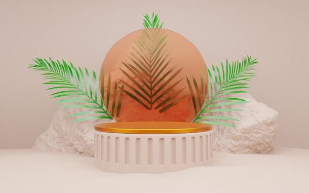 석재 바위 모양의 배경 모형은 금색 제품 연단을 표시하거나 화장품 제품, 3d 렌더링을 보여줍니다.