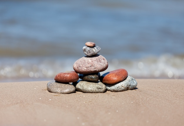 Stone on sea shore closeup