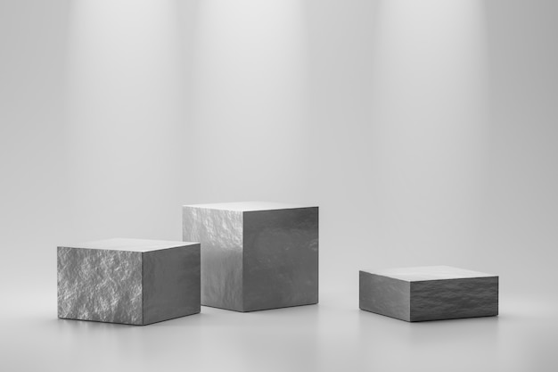 Stone showcase or rock podium stand on white background with marble and spotlight concept. pedestal of product display for design. 3d rendering.