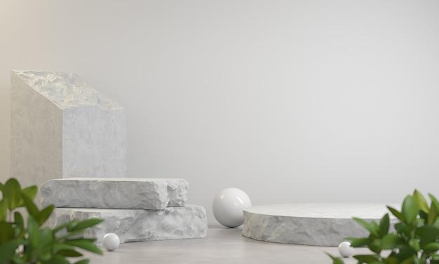 흰색 추상적 인 배경 3d 렌더링에 쇼 제품에 대한 돌 석판 파편 진열대 프리미엄 사진