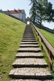 Stone staircase leading to the catholic monastery