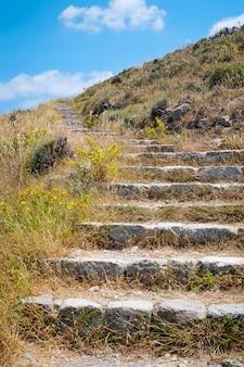 サントリーニ島、イア、ギリシャの緑の草の上の石の階段