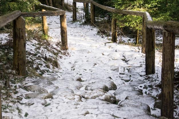 雪と氷の石の階段。階段を降りる危険な降下