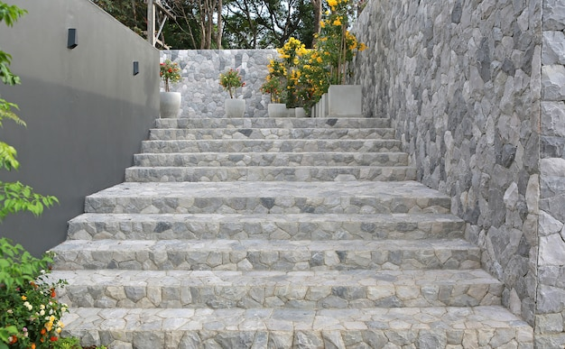 Stone stairs in public park thailand