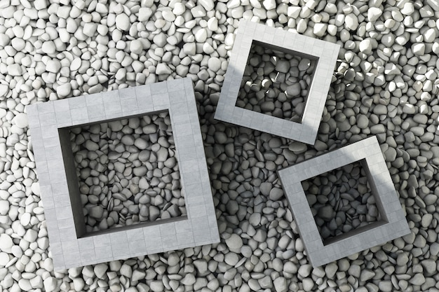 正方形のフレームが付いている石造りのタイル