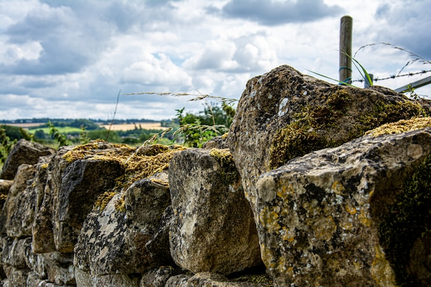 Stone wall in the middle of the cotswolds