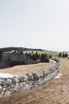 曇り空の下で緑の野原の崖の近くの石の壁