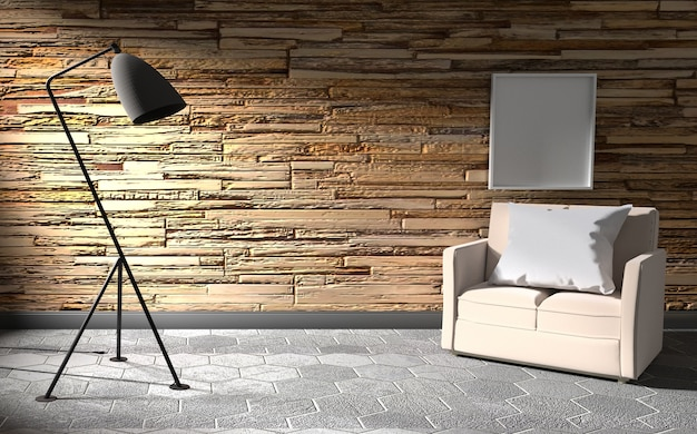 Stone wall room interior with lamp and sofa .3d rendering