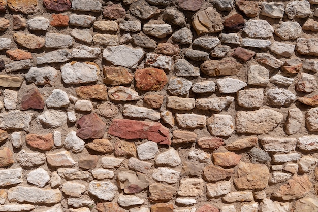 Stone wall  texture of dry masonry background
