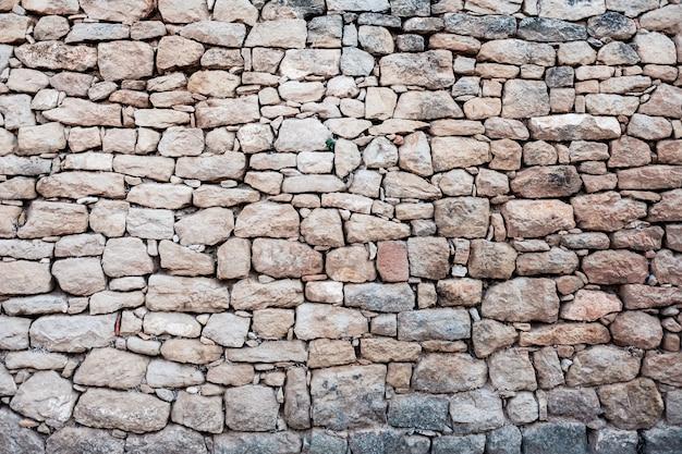 まっすぐな自然の岩、落ち着いた色、粗い背景の石の壁。