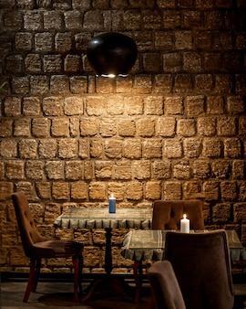 Stone-walled restaurant and top lighting