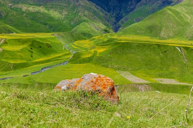 녹색 산의 배경에 오렌지 이끼와 돌. 오렌지 이끼가 있는 돌. 조지아로의 여행