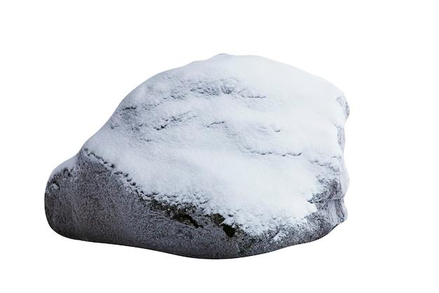 Камень со снегом на белом фоне. элемент дизайна