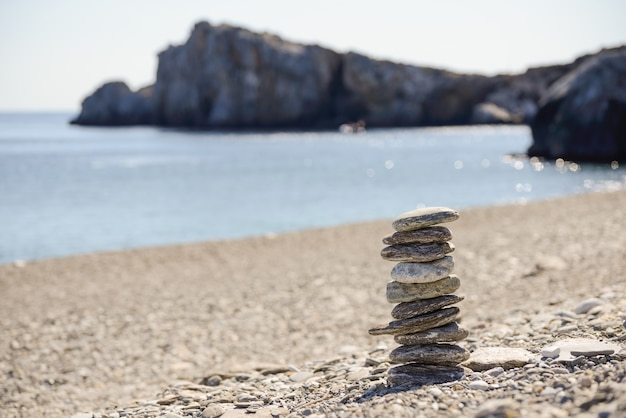 Stones in balance close to the sea