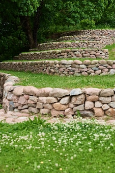 Stones and green grass front yard landscape design