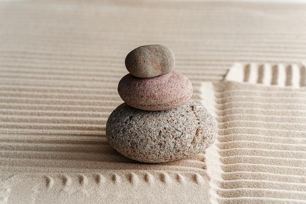 Stones on sand, japanese meditation zen garden