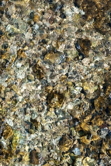 Stones under water on river bottom in sunny day