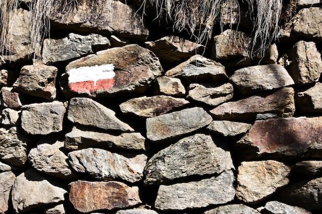 山道のサインのあるストーンウォール、概念的に適しています