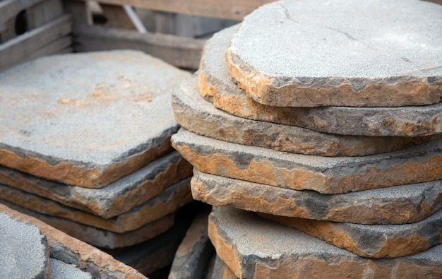 Stonework with sand stone plate for construction