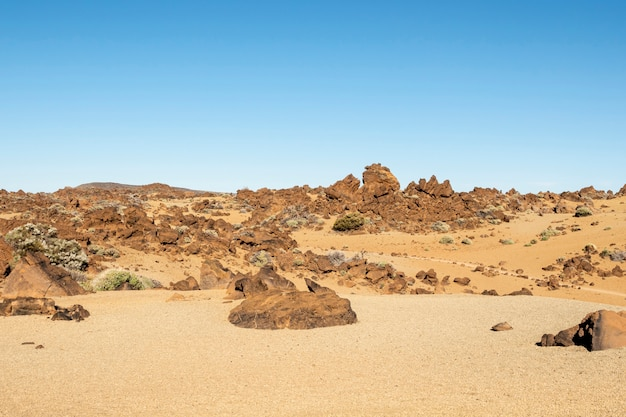 Stony desert with clear sky