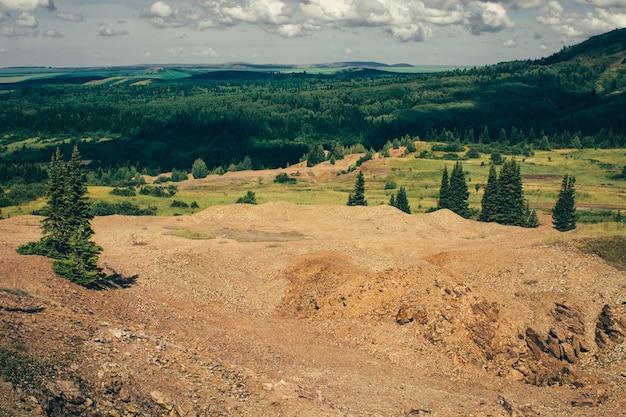森の山々の石の丘