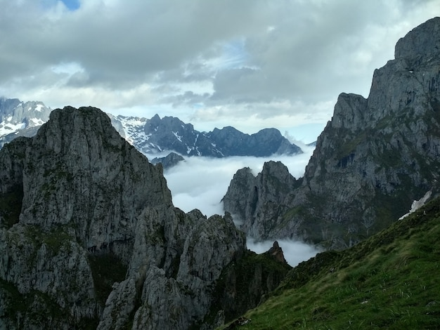 Stony mountains covered with fog