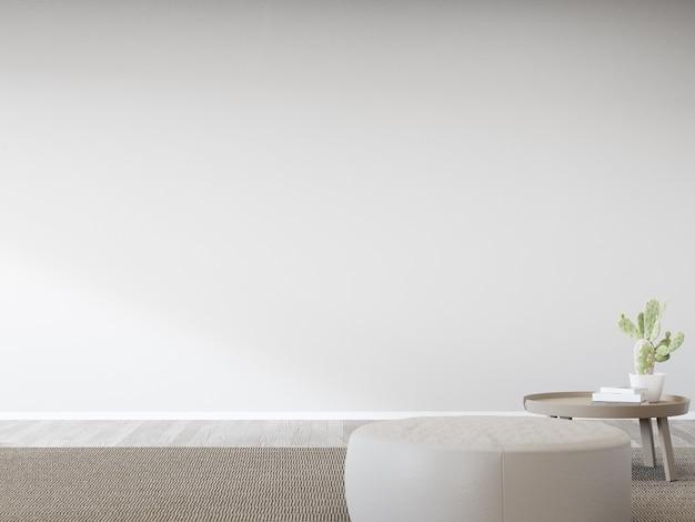 Табурет против пустой белой стены яркой гостиной в современном доме