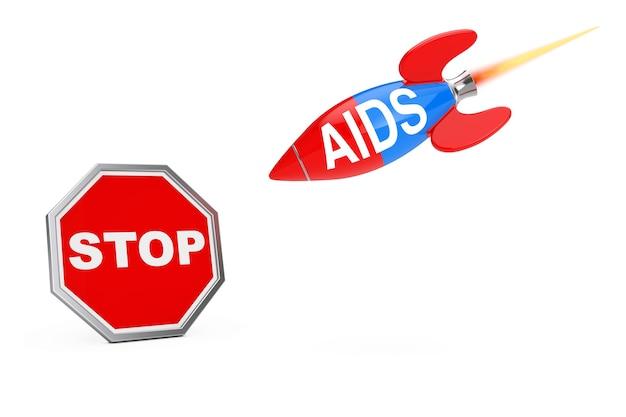 エイズの概念を停止します。白地にエイズサインロケットで一時停止の標識シールド。 3dレンダリング