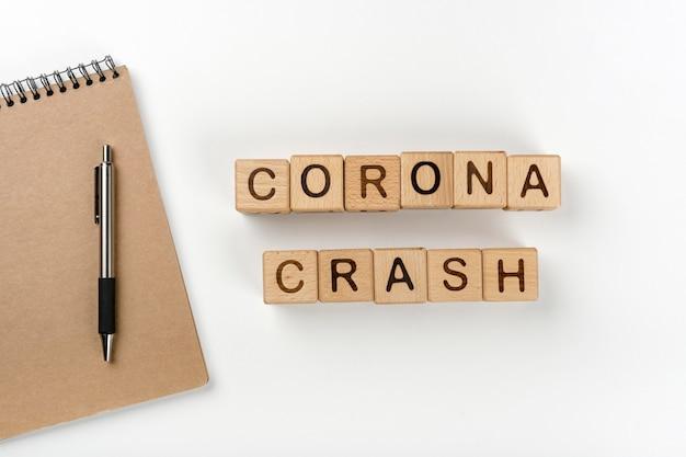 Stop coronavirus message with notebook