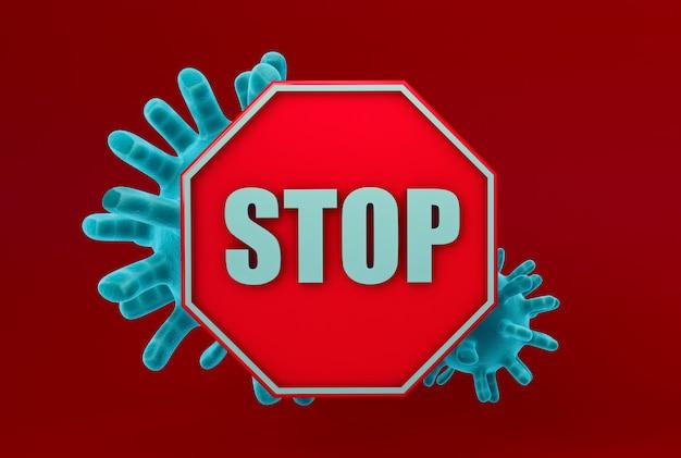 赤の背景でコロナウイルスを止める