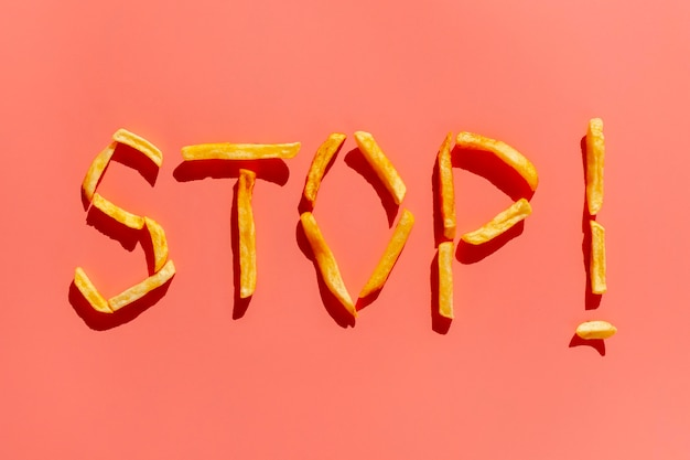 Stop eating unhealthy snack message
