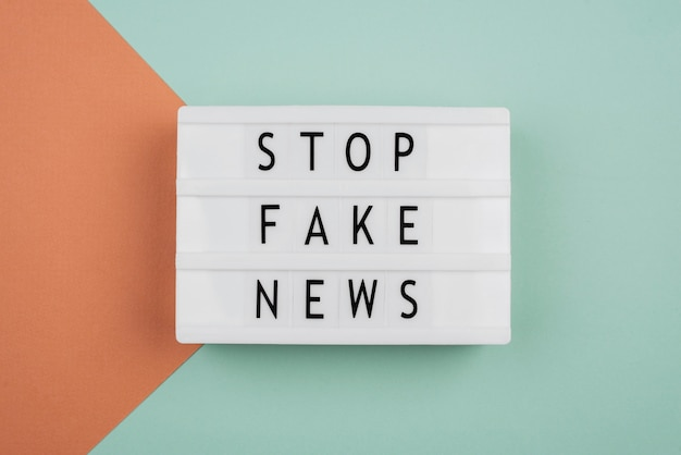 Stop fake news concept above view