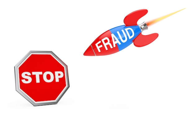 Stop fraud concept. stop sign shield with fraud sign rocket on a white background. 3d rendering