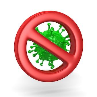 Stop green virus on white