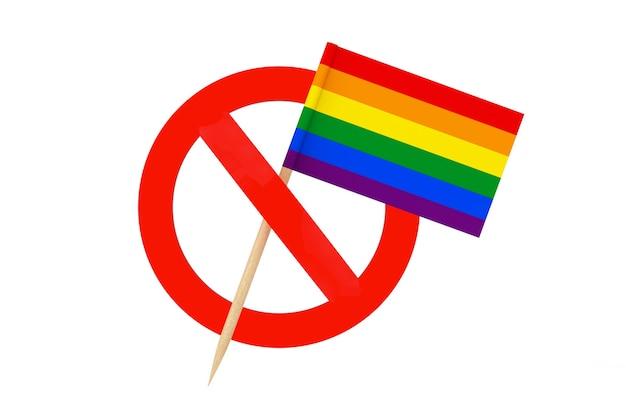 Остановить концепцию лгбт. мини-бумажный флаг указателя радуги лгбт с запрещенным символом на белом фоне. 3d рендеринг
