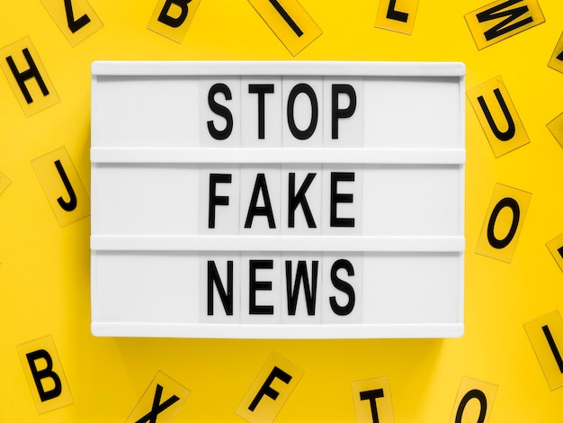 Stop making fake news letters on background