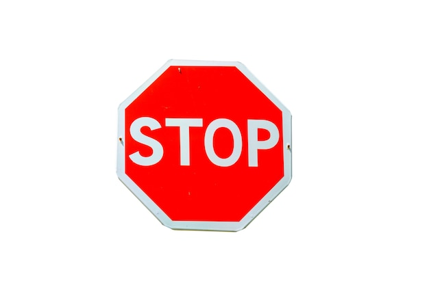 Stop road sign isolated on a white background