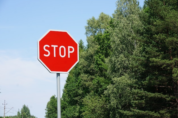 Stop sign beside row of trees against a blue sky